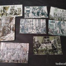 Postales: LOTE DE OCHO POSTALES DE F.N.M.T., REPRODUCCION GRABADOS, LOTERIA. Lote 119046399