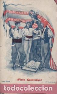 MUY BUENA POSTAL SOLIDARITAT CATALANA MATX 1906 - VISCA CATALUNYA - EDIT. VIOLA IMPRT. ELZEVIRIANA (Postales - Postales Temáticas - Especiales)