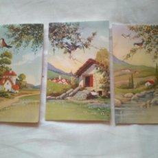 Postales: 3 TARJETA DESPLEGABLE TROQUELADA PAISAJE FLORES -RAKER EDITIONS UNIVERS 830/ 1 2 Y 3. Lote 119630198