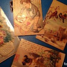 Postales: POSTALES TROQUELADAS ÉPOCA ALFONSO XIII - LOTE DE 4 MUY COLORIDAS. Lote 121615027