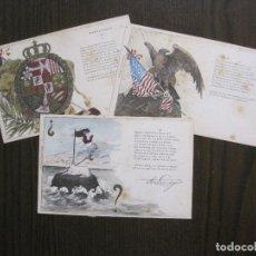 Postales: TRES POSTALES ANTIGUAS - PABELLONES Y ESTANDARTES - REVERSO SIN DIVIDIR - (52.937). Lote 122703319