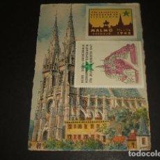Postales: ESPERANTO POSTAL VIÑETAS CONGRESOS UNIVERSALES CIRCULADA A MADRID ESCRITA EN ESPERANTO. Lote 128692683