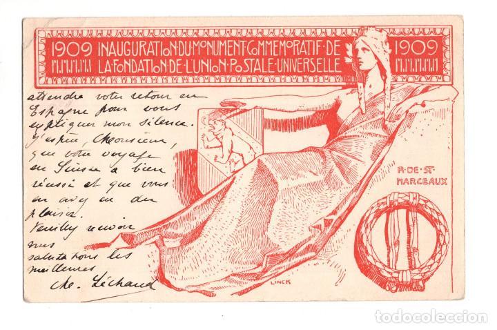 1909 INAGURATION DU MONUMENT COMMEMORATIF DE LA FONDATION DE LUNION POSTALE UNIVERSELLE (Postales - Postales Temáticas - Especiales)