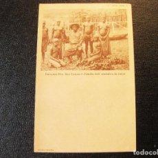 Postales: POSTAL DE FERNANDO PÓO. SAN CARLOS. FAMILIA BUBI VENDEDORA DE ÑAMES. MATASELLOS. Lote 132914162