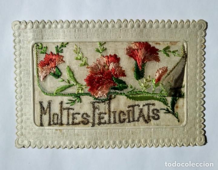 POSTAL BORDADA MOLTES FELICITATS 1927 (Postales - Postales Temáticas - Especiales)