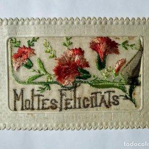 Postal bordada Moltes felicitats 1927