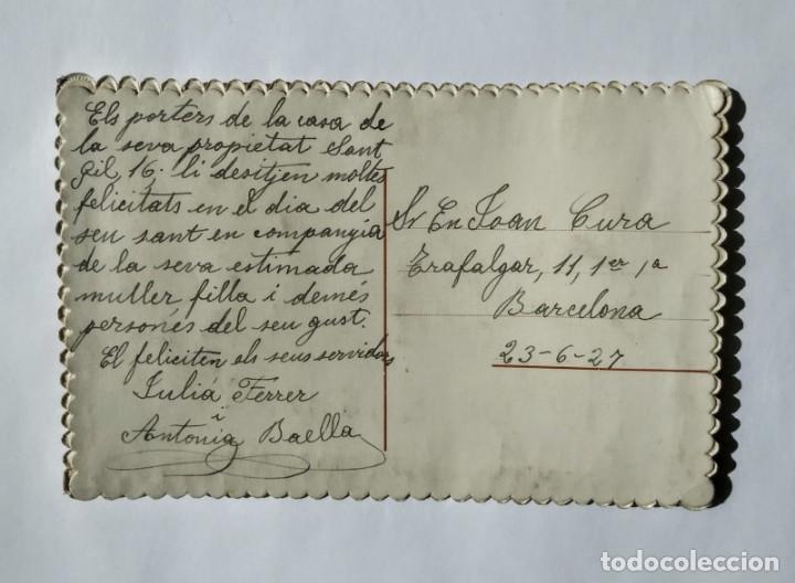 Postales: Postal bordada Moltes felicitats 1927 - Foto 2 - 135141966