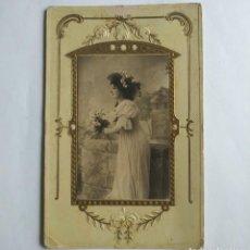 Postales: 1913 FOTOGRAFÍA POSTAL CON ROSAS EN RELIEVE SELLO REPÚBLICA ARGENTINA CIRCULADA 1/1/1913. Lote 139165162