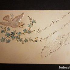 Postales: POSTAL EN RELIEVE PALOMA MENSAJERA Y FLORES. Lote 140651258