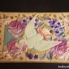 Postales: POSTAL EN RELIEVE MECANICA PALOMA MENSAJERA CON FLORES CELULOIDE. Lote 140684562