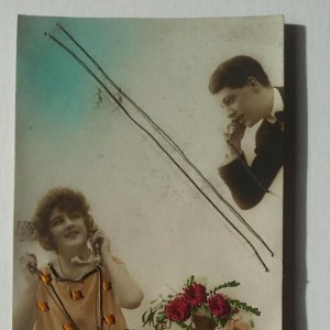 1923 Postal llamada telefónica, los cables pueden tocarse Teléfono telégrafos