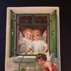 Postales: POSTAL ANGELES CON CERDO EN RELIEVE. Lote 140886150