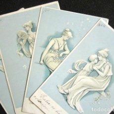 Postales: LOTE DE 4 POSTALES. SERIE COMPLETA. ROMÁNTICAS. AÑO 1902. . Lote 140887682
