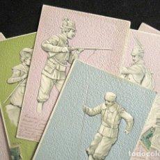 Postales: LOTE DE 6 POSTALES CON RELIEVE. SERIE COMPLETA. DEPORTES. AÑO 1902. CIRCULADAS. . Lote 140887906