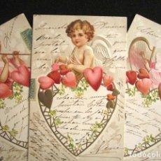 Postales: LOTE DE 3 POSTALES CON RELIEVE. SERIE COMPLETA. ÁNGELES Y CORAZONES. AÑO 1902. CIRCULADAS. . Lote 140888078