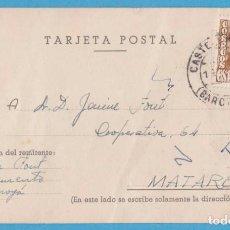 Postales: POSTAL SIN IMAGEN, SÓLO PARA TEXTO. MATARÓ, MOYÁ. 1954. Lote 143251546