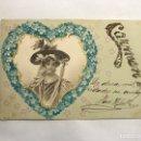 Postales: POSTAL ROMÁNTICA. DEDICADA A LA SEÑORITA CARMEN...(H.1910?). Lote 147334870