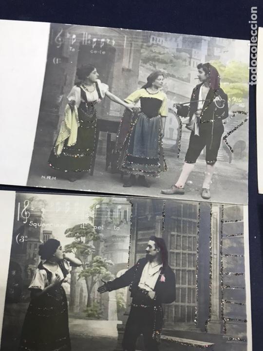 Postales: SERIE COMPLETA 10 POSTALES OPERA CAVALLERIA RUSTICANA. SIN DIVIDIR. PINTADAS CON PURPURINA. NOTACIÓN - Foto 2 - 147517006