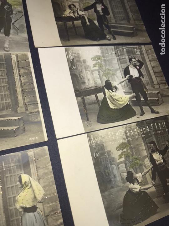 Postales: SERIE COMPLETA 10 POSTALES OPERA CAVALLERIA RUSTICANA. SIN DIVIDIR. PINTADAS CON PURPURINA. NOTACIÓN - Foto 4 - 147517006