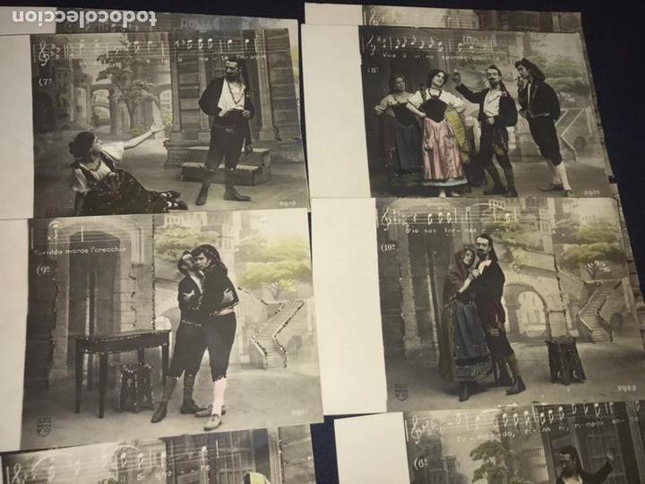Postales: SERIE COMPLETA 10 POSTALES OPERA CAVALLERIA RUSTICANA. SIN DIVIDIR. PINTADAS CON PURPURINA. NOTACIÓN - Foto 5 - 147517006