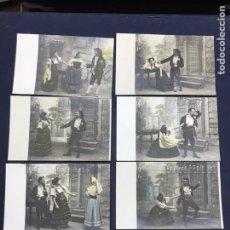 Postales: SERIE COMPLETA 10 POSTALES OPERA CAVALLERIA RUSTICANA. SIN DIVIDIR. PINTADAS CON PURPURINA. NOTACIÓN. Lote 147517006