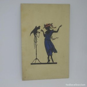Silueta impresa con relieve. Bartajos. Sin circular. Mujer con vestido y sombrero en relieve, loro