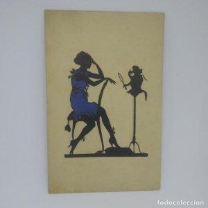 Silueta impresa con relieve. Bartajos. Sin circular. Mujer con vestido y sombrero en relieve, mono