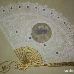 Postal época relieve 1906 Abanico