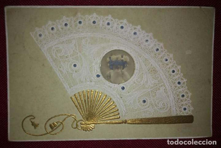 Postales: Postal época relieve 1906 Abanico - Foto 2 - 114444571