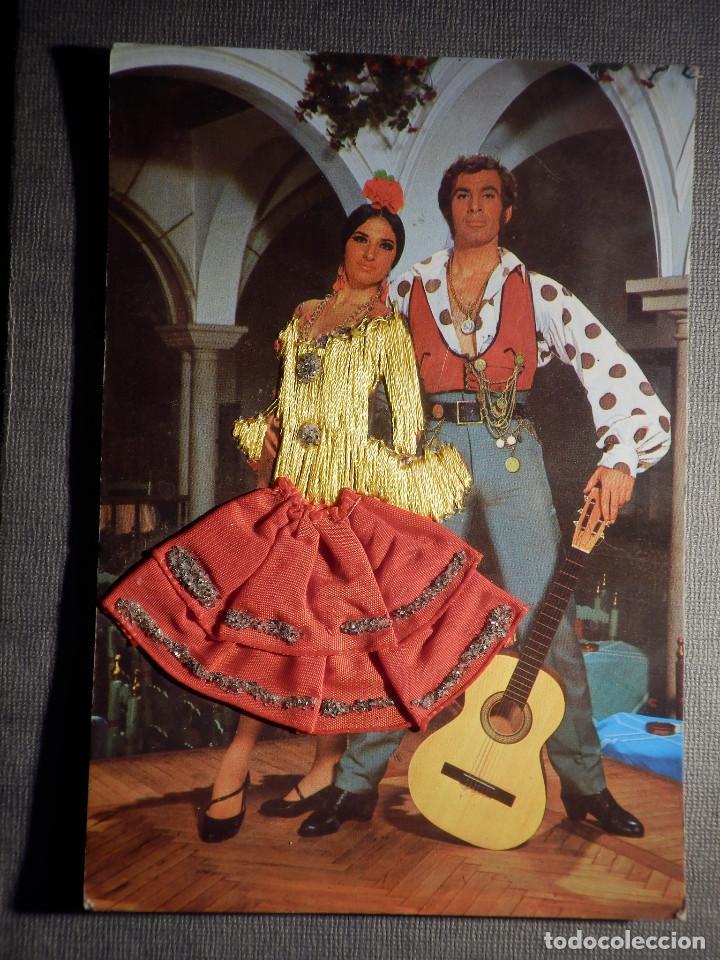 POSTAL BORDADA - FLAMENCA - EDICIONES FOTO ANTONIO - ESCRITA - (Postales - Postales Temáticas - Especiales)