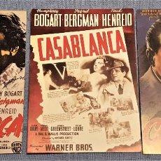 Postales: LOTE DE 3 POSTALES DE LA PELICULA CASABLANCA HUMPHREY BOGART Y INGRID BERGMAN. Lote 153213002