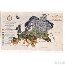 Postales: INSTITUTO AGRÍCOLA ALFONSO XII. ESCUELA ESPECIAL DE INGENIEROS AGRÓNOMOS. MAPA CLIMATOLOGICO EUROPA. Lote 154253694