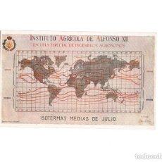 Postales: INSTITUTO AGRÍCOLA DE ALFONSO XII. ESCUELA ESPECIAL DE INGENIEROS AGRÓNOMOS. ISOTERMAS MEDIAS JULIO. Lote 154254178