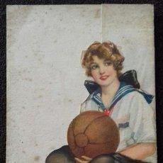Postales: POSTAL TRIPTICA/TROQUELADA. 123 F.A.SCHNEIDER. MUCHACHA CON PELOTA.ILUSTRACION HAMILTON KING.1914.. Lote 155775526