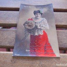Postales: TARJETA POSTAL COLOREADA CANDELARIA MEDINA SOTA DE OROS CIRCULADA. Lote 155783794