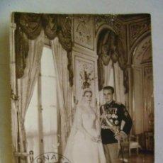 Postales: POSTAL OFICIAL DE LA BODA DEL PRINCIPE RAINIERO CON GRACE KELLY. MONACO, 1956.. Lote 157142654