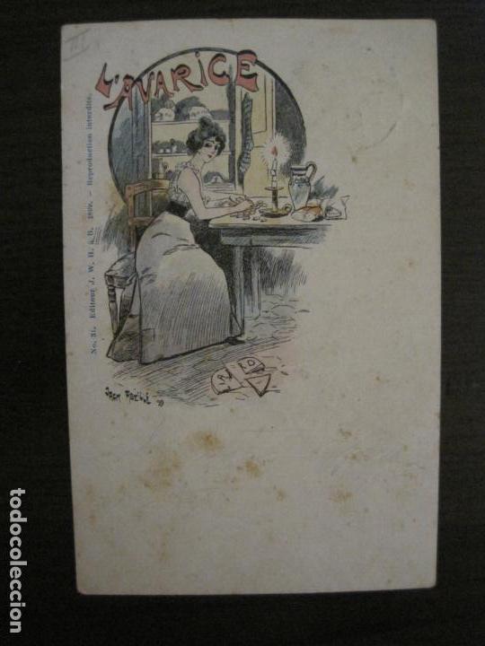 Postales: LOS 7 PECADOS CAPITALES-COL·COMPLETA DE 7 POSTALES ILUSTRADAS POR JACK ABEILLE-VER FOTOS-(58.260) - Foto 6 - 158439274