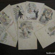 Postales: LOS 7 PECADOS CAPITALES-COL·COMPLETA DE 7 POSTALES ILUSTRADAS POR JACK ABEILLE-VER FOTOS-(58.260). Lote 158439274