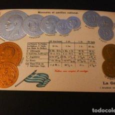 Postales: GRECIA MONEDAS Y BANDERA POSTAL EN RELIEVE CROMOLITOGRAFICA HACIA 1907. Lote 163675562