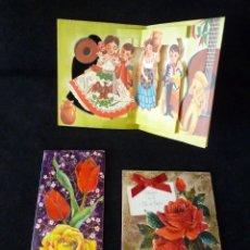 Postales: LOTE DE 3 TARJETAS DE FELICITACIÓN (2 DESPLEGABLES). AÑOS 60-70. Lote 165504026