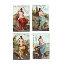 Postales: LAS CUATRO ESTACIONES. 4 POSTALES CIRCULADAS EN 1903.. Lote 166124906
