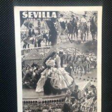 Postales: FERIA DE ABRIL SEVILLA 1952 POSTAL ANDALUCIA ANTIGUA HUECO GRABADO FOURNIER SERRANO ORIGINAL . Lote 166678750