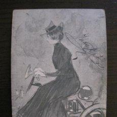 Postales: RAMON CASAS-PEL & PLOMA Nº 1-POSTAL MODERNISTA-REVERSO SIN DIVIDIR-VER FOTOS-(59.910). Lote 166817130