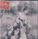 Postales: POSTAL FRANCESA - ILUSTRADA POR EVA HOLLYER - RETRATO MUJER Y NIÑA RECOGIENDO FLORES SILVESTRES. Lote 167928616