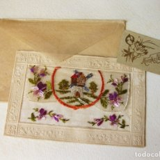 Postales: ANTIGUA POSTAL BORDADA CON SOBRE Y TARJETA DE FELICITACIÓN. Lote 168668620