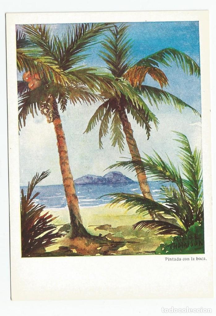 2 POSTALES DE LA EDITORIAL ARTIS-MUTI PINTADOS CON LA BOCA EN 1960- PUERTO PESQUERO Y PALMERAS (Postales - Postales Temáticas - Especiales)