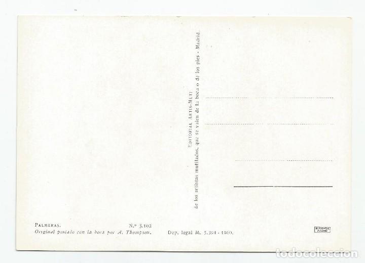Postales: 2 POSTALES DE LA EDITORIAL ARTIS-MUTI PINTADOS CON LA BOCA EN 1960- PUERTO PESQUERO Y PALMERAS - Foto 2 - 170878490