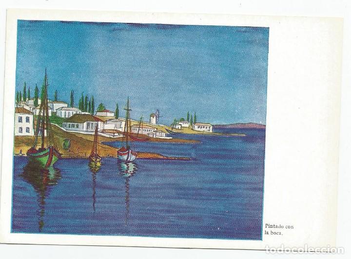 Postales: 2 POSTALES DE LA EDITORIAL ARTIS-MUTI PINTADOS CON LA BOCA EN 1960- PUERTO PESQUERO Y PALMERAS - Foto 3 - 170878490