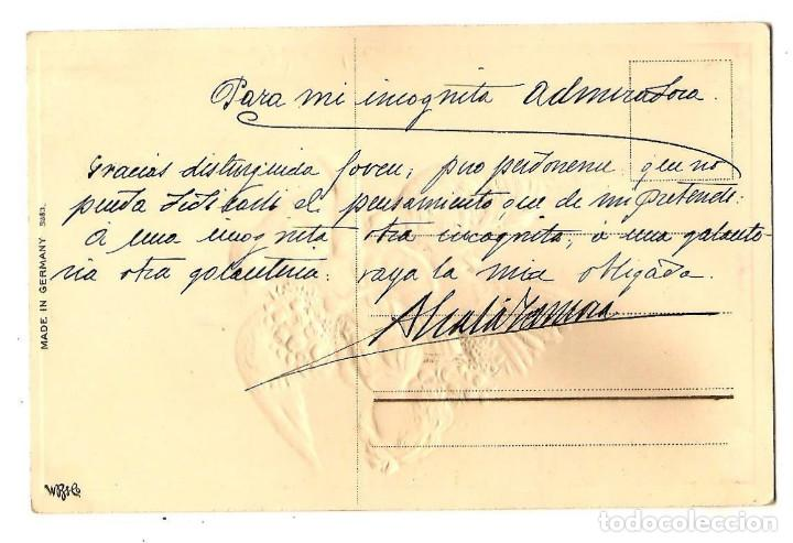 Postales: PRECIOSA POSTAL CON PURPURINA MUY ANTIGUA MADE IN GERMANY CON RELIEVE MANUSCRITA EN CASTELLANO - Foto 2 - 171251388