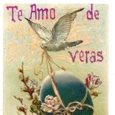 Postales: PRECIOSA POSTAL EN RELIEVE DE CARÁCTER ROMÁNTICO CON PURPURINAS MUY ANTIGUA FECHADA 1907. Lote 171255864